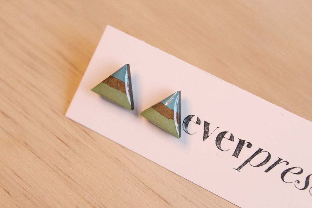 Striped Triangle Stud Earrings