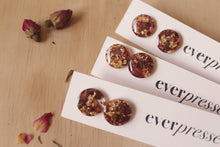 Load image into Gallery viewer, Real Red Rose flowers, real cocoa bean shells & faux gold foil set in crystal clear resin stud earrings with hypoallergenic posts.