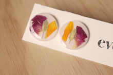 Load image into Gallery viewer, Hypoallergenic studs made with real rose petals, calendula petals and hoary alyssum set in crystal clear resin.