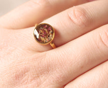 Load image into Gallery viewer, Real Sorrel flower buds set in crystal clear resin, encased in a 10mm gold plated sterling silver adjustable ring.