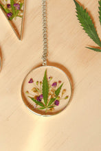 Load image into Gallery viewer, Real Bud Leaf, Alyssum Flowers and Goldenrod Flowers set in crystal clear resin in a .925 sterling silver bezel.