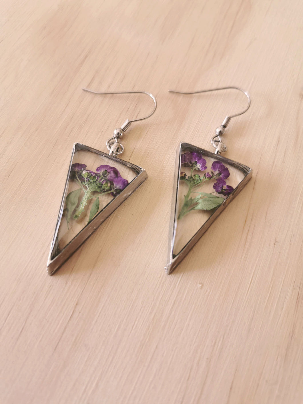 Real Preserved Alyssum Earrings