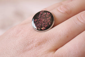 Silver/Black Queen Anne's Lace Ring