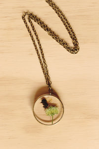 Honey Bee + Clover Flower Necklace