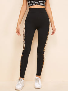 SHEIN Leopard Side Seam Mesh Insert Leggings