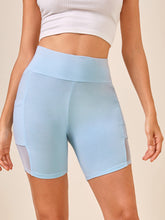 Load image into Gallery viewer, SHEIN Wide Waistband Mesh Insert Biker Shorts