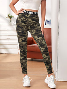 SHEIN Letter Tape Waist Camo Leggings