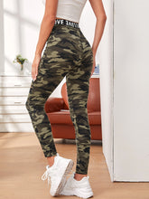 Load image into Gallery viewer, SHEIN Letter Tape Waist Camo Leggings
