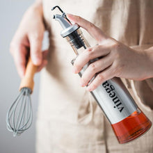 Load image into Gallery viewer, Leakproof Stainless Steel + Glass Kitchen Oil / Vinegar / Sauce Bottle