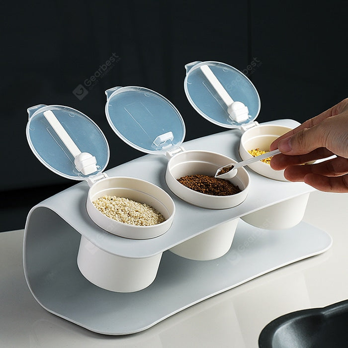 Transparent Cover Seasoning Box with Spoon