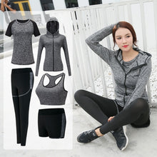 Load image into Gallery viewer, Long Sleeve Zipper Hooded Fitness Yoga T Shirt Running Jacket Sport Jerseys Jogging Suit Women Sportswear( Five - Piece)