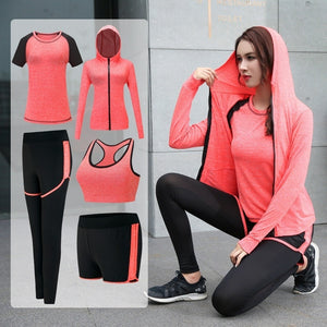 Long Sleeve Zipper Hooded Fitness Yoga T Shirt Running Jacket Sport Jerseys Jogging Suit Women Sportswear( Five - Piece)