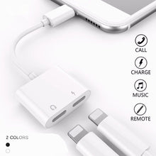 Load image into Gallery viewer, 2 in 1 for Lightning Adapter Double Jack Audio Adapter Cable Support iOS10.3 Above for iPhone 7 7plus 8 8 plus X