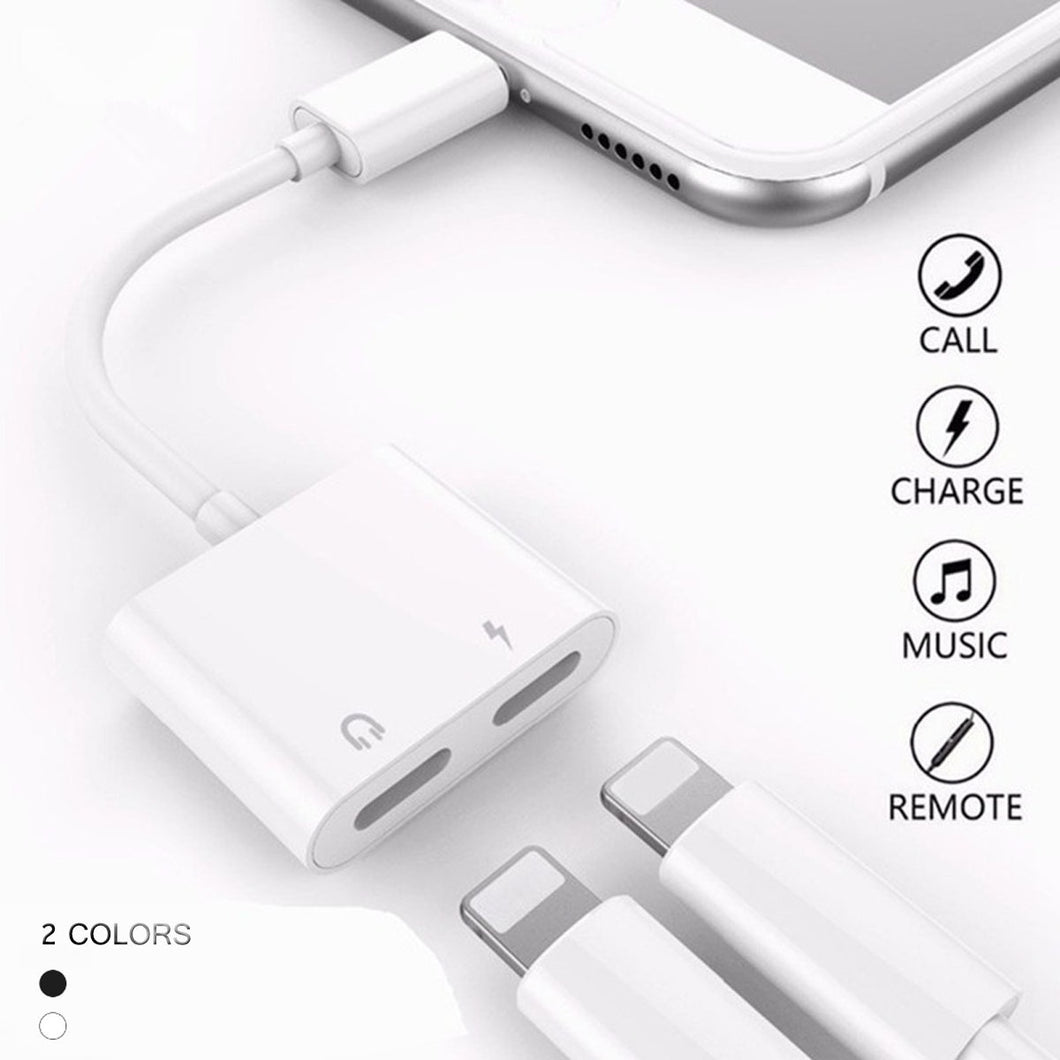 2 in 1 for Lightning Adapter Double Jack Audio Adapter Cable Support iOS10.3 Above for iPhone 7 7plus 8 8 plus X