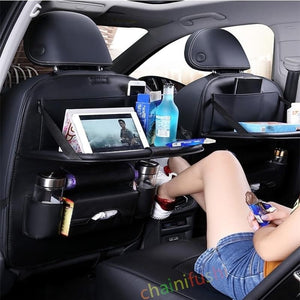 Car Back Seat Organizer  with Foldable Table Tray