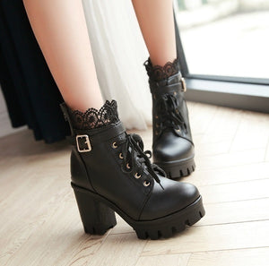 Women's Thick High Heel Ankle Boots