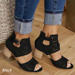 Women Summer Vintage Hollow Out Sandals Thick Heel