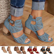 Load image into Gallery viewer, Women Summer Vintage Hollow Out Sandals Thick Heel