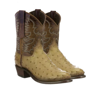 2020 New Men's Traditional Full Quill Ostrich Western Style Boot