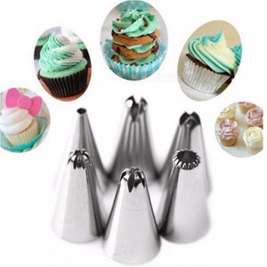 Silicone Icing Piping Cream Pastry Bag with 6Pcs Stainless Steel Nozzle Set
