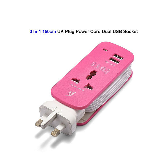 Portable AC Travel Power Strip With 2 USB Chargers