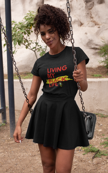 """Living My Black Life"" Ladies' Scoopneck T-Shirt (Black)"
