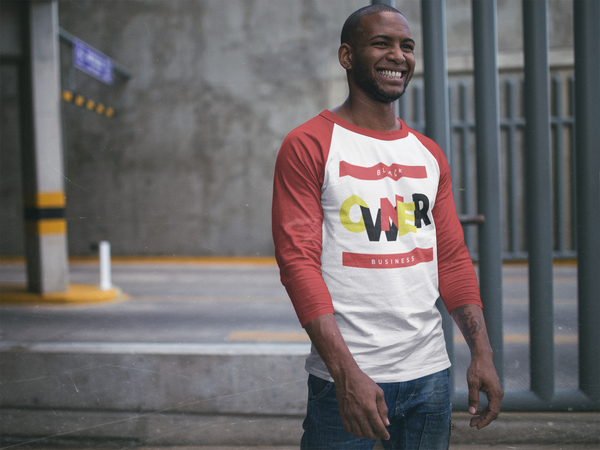 """Black Business Owner""  3/4 Sleeve Raglan Shirt (Red)"