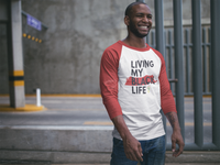 """Living My Black Life"" 3/4 Sleeve Raglan Shirt (Red)"