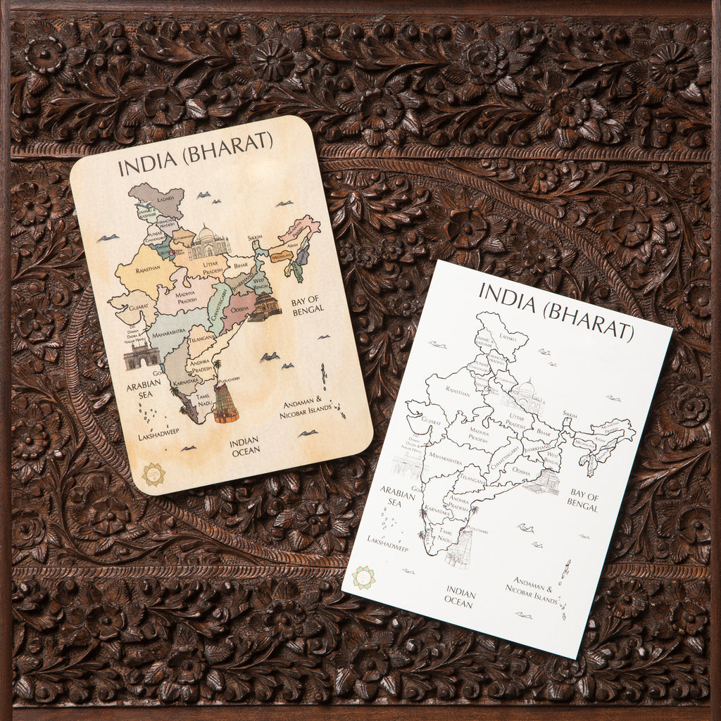 India (Bharat) Country Map Timber Tile + Matching Colour In Card