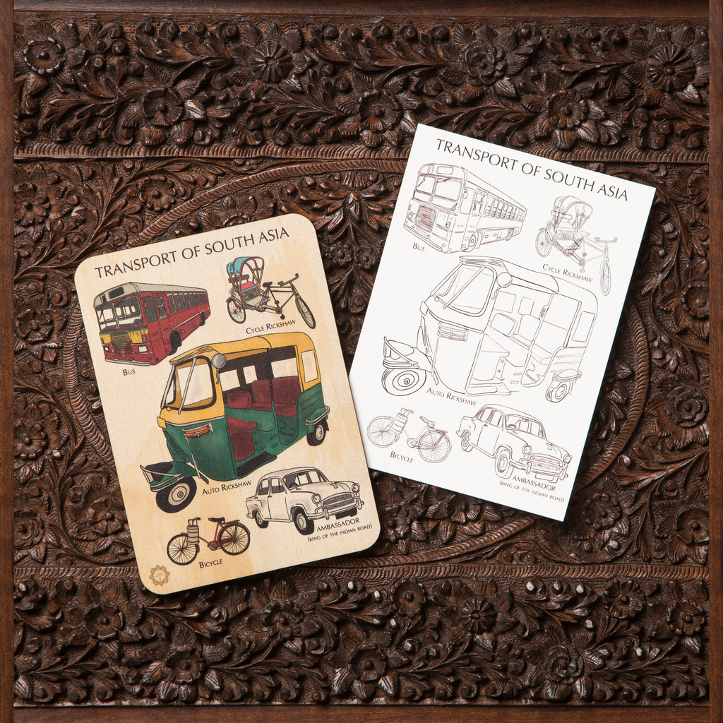 Transport of South Asia Timber Tile + Matching Colour In Card