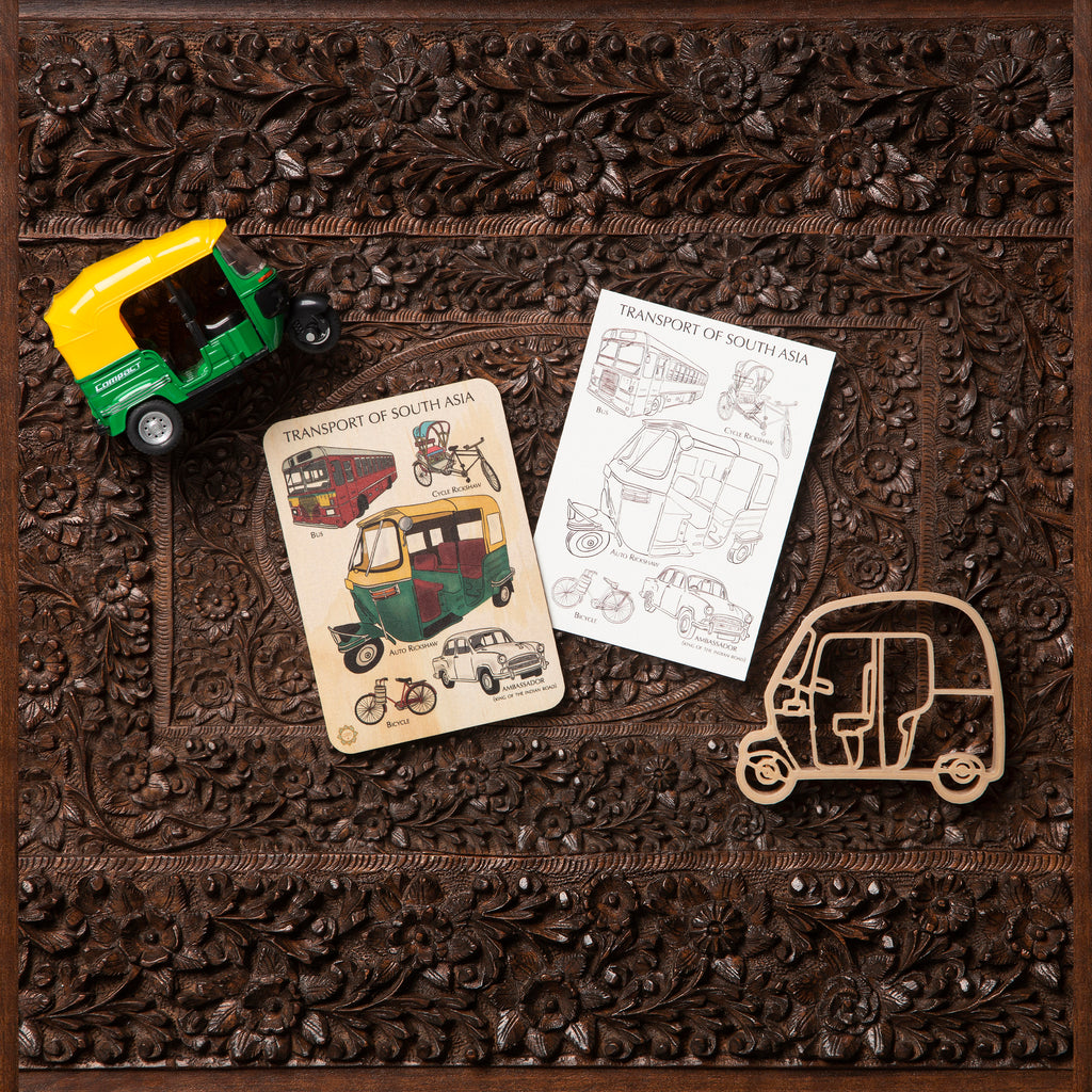 Transport of South Asia Sensory Pack - Eco Cutter™, Timber Tile, And Colour In Card