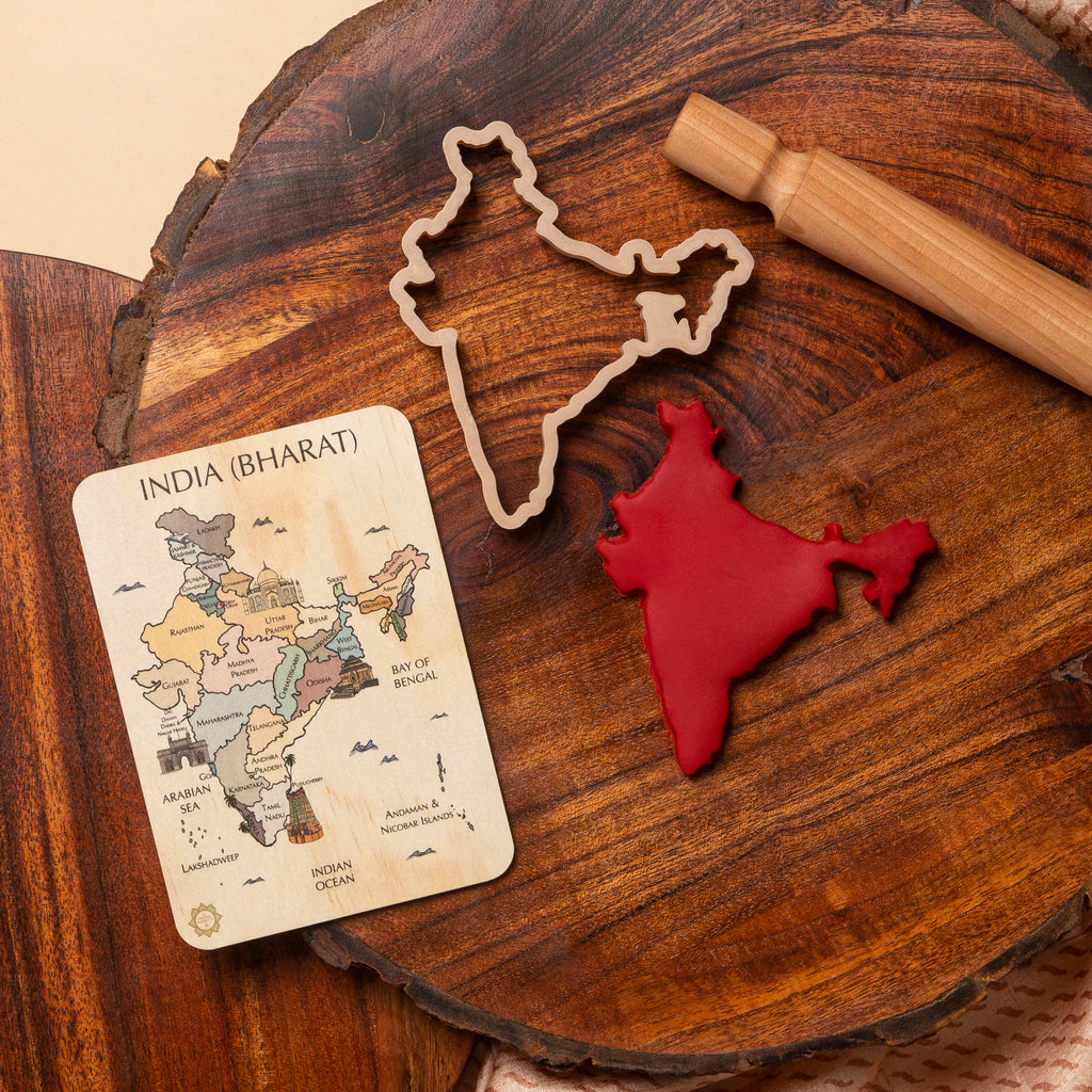 India (Bharat) Country Sensory Pack - Eco Cutter™, Timber Tile, And Colour In Card