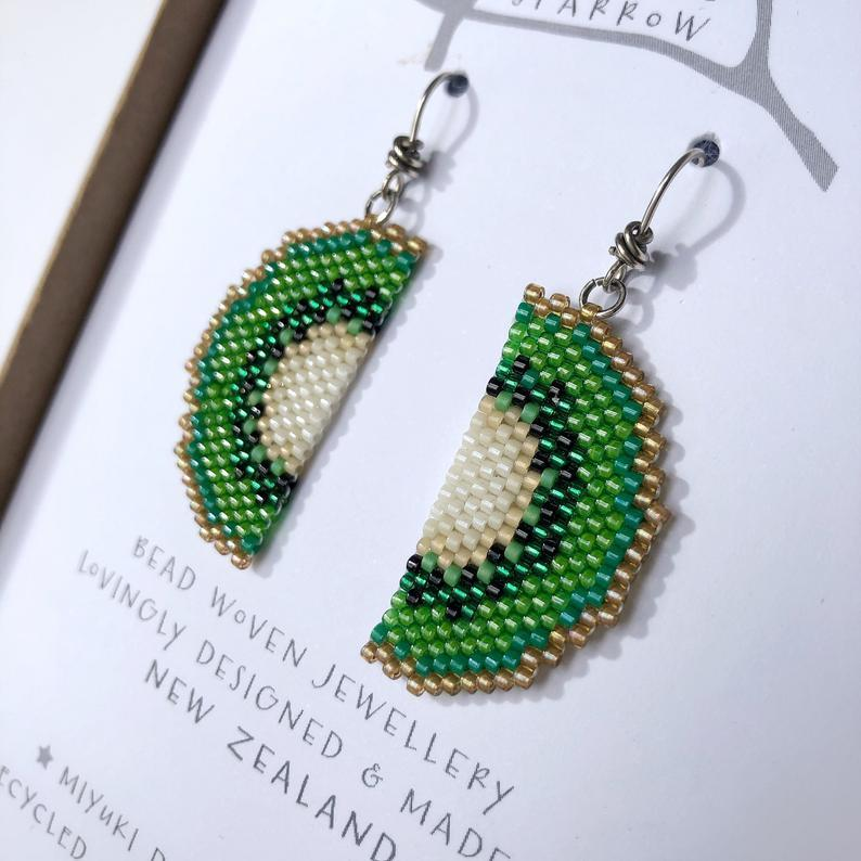 Handmade Bead Earrings - Kiwi Fruit