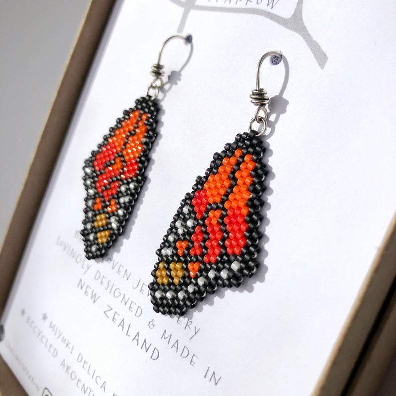 Handmade Bead Earrings - Monarch Wings
