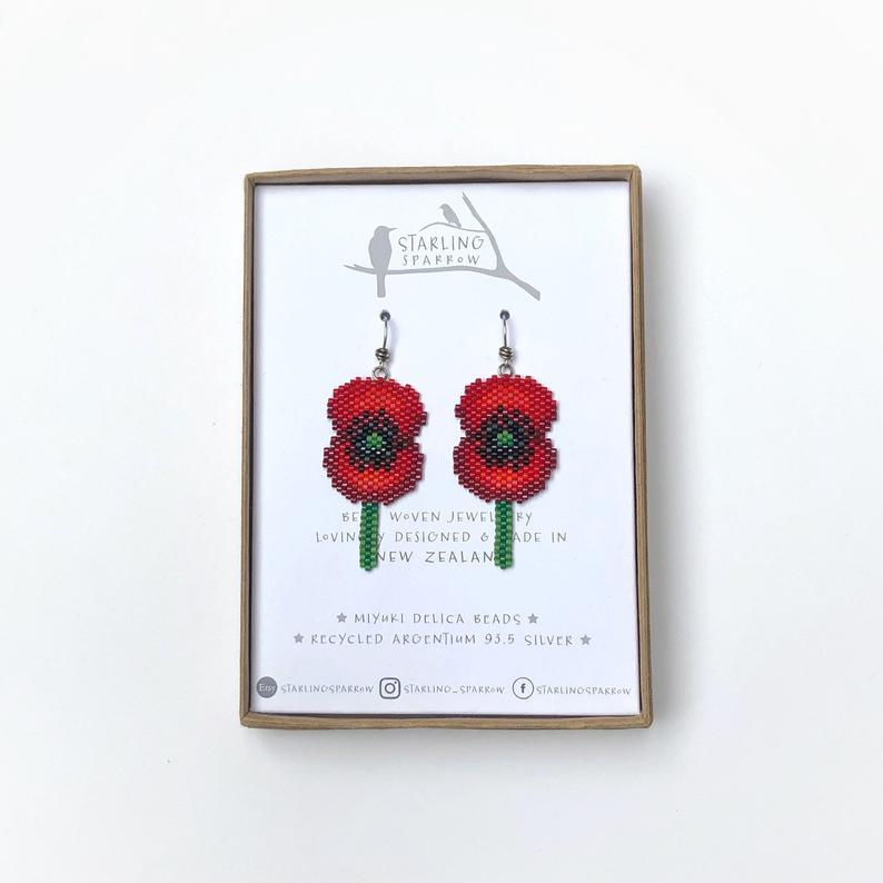 Handmade Bead Earrings - Poppy