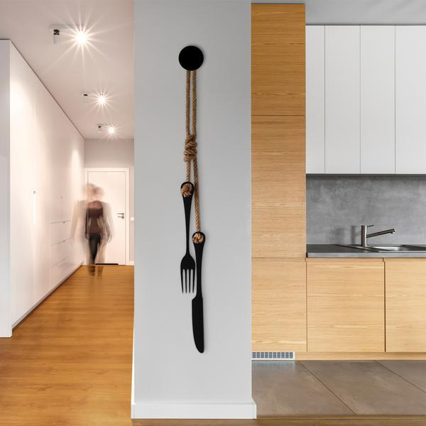 Hanging Cutlery - steel wall art