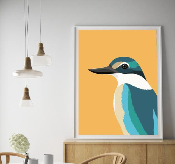 Kingfisher Art Print - A3 framed