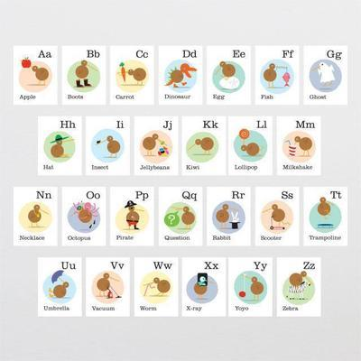 Kiwiana Alphabet flash cards