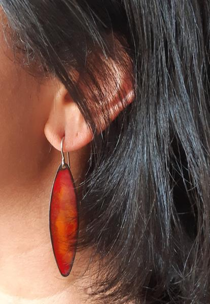 Large leaf enamel Earrings