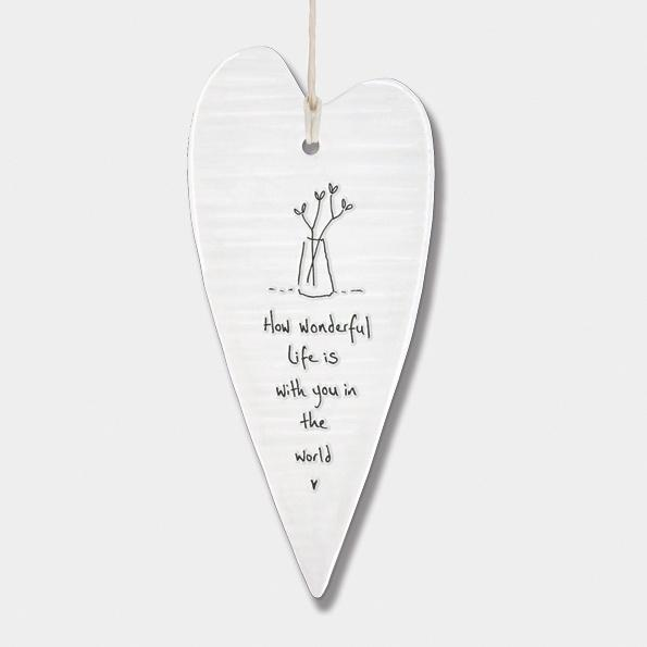 Porcelain Hanging Long Heart - How wonderful life is