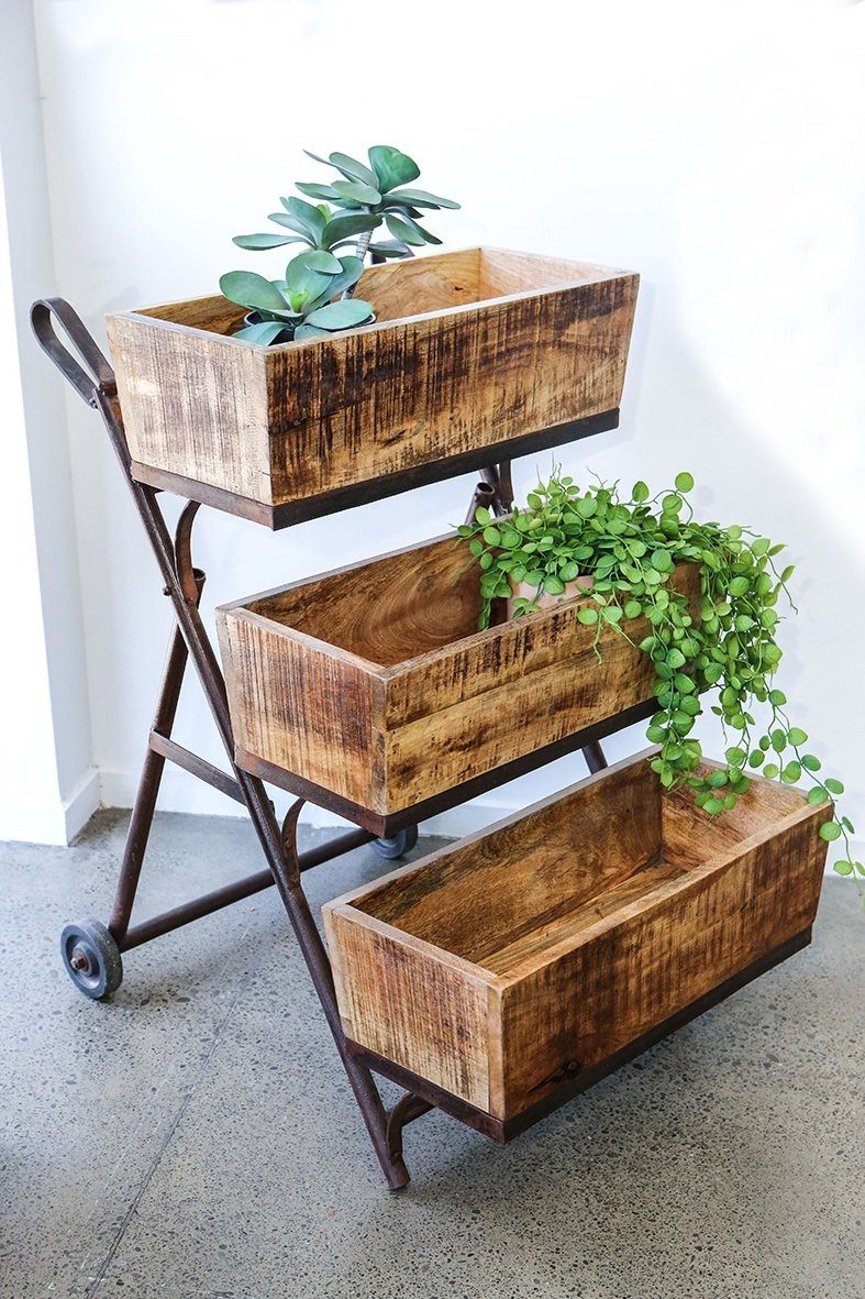 Rustic Iron and Wooden Shelf Trolley