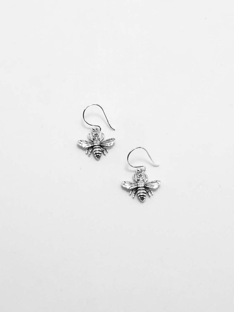 Sterling Silver Bee Hook Earrings