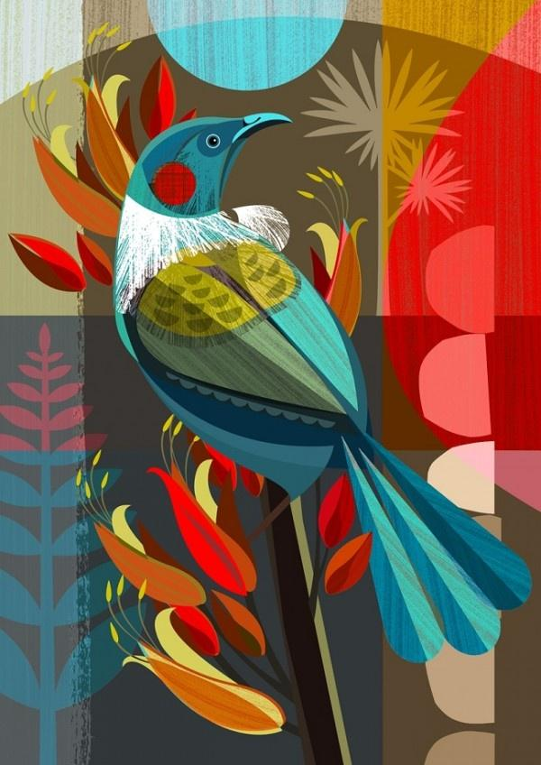 Tui in the Flax - Ellen Giggenbach card