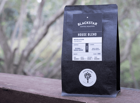 A bag of House Blend coffee by Blackstar Coffee Roasters