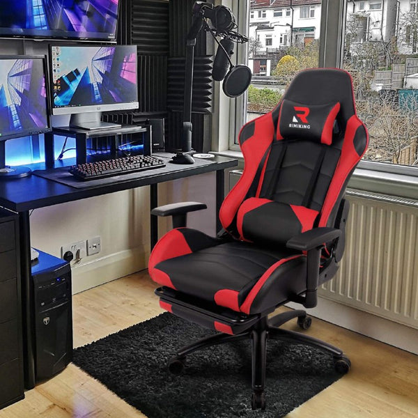 MaXvii ™ Gaming Chair Racing Office Computer Game Chair Cheap Ergonomic with Massage, Footrest, Seat Height Adjustment, Recliner Swivel, Rocker, Headrest and Lumbar Pillow, Big & Tall Guys Near Me (under 200, blue, black, black & red, black & blue)