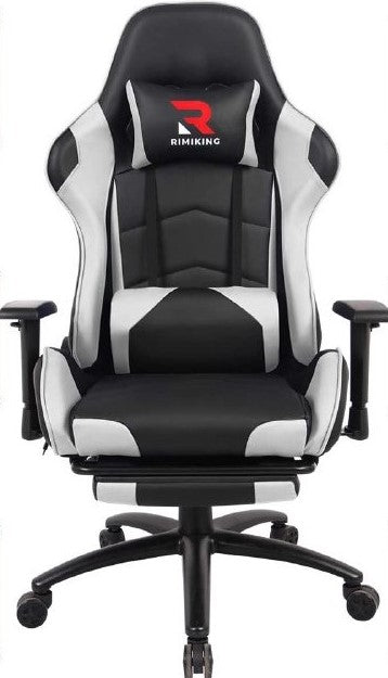 MaXvii Gaming Racing, Office, Ergonomic Chair with Massage, Footrest, Seat Height Adjustment, Recliner Swivel, Rocker, Headrest and Lumbar Pillow
