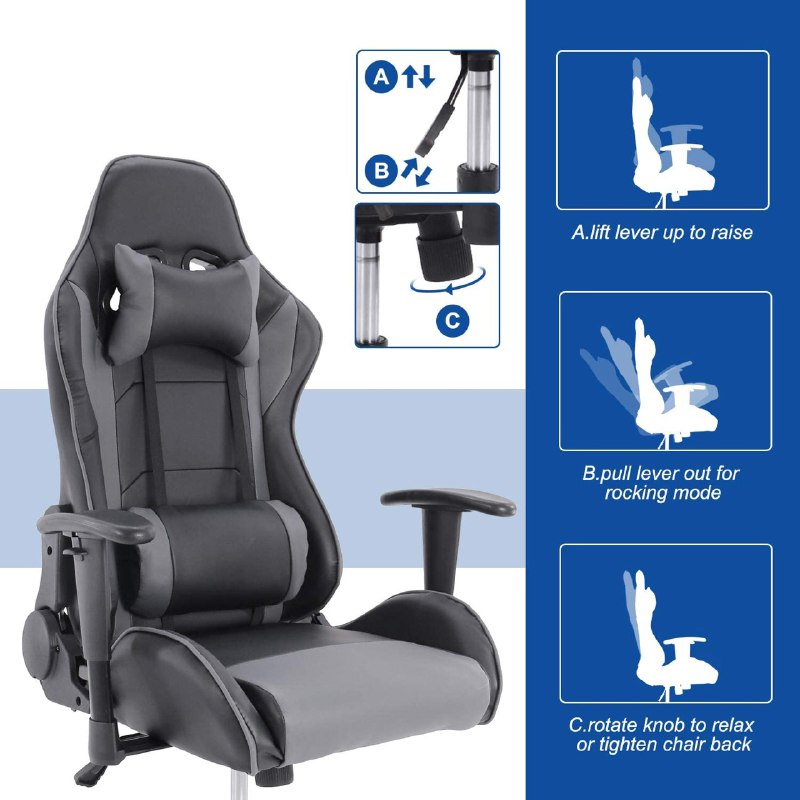 MaXvii™ Best Gaming Chair that's Cheap, Rocking, Recliner for computer gamers, tall big guys with massage under $200 Office Chair High Back Computer Chair PC Racing Executive Ergonomic Adjustable Swivel Task Chair with Headrest and Lumbar Support
