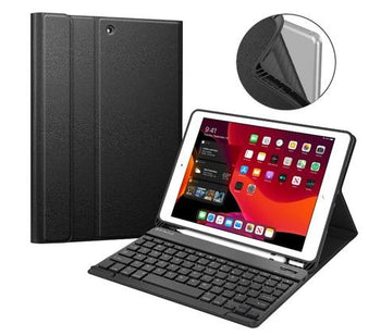 Ipad Case, Ipad Case With Keyboard, Ipad Case For New Ipad 7th Generation 10.2 Inch 2019, Soft TPU Back Stand Cover W/Built-In Pencil Holder, Magnetically Detachable Wireless Bluetooth Keyboard For Ipad 10.2