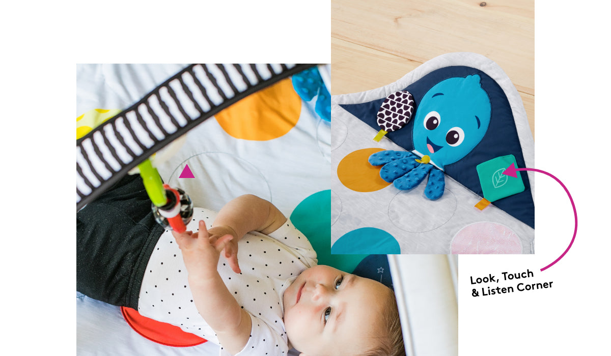 Look, touch, and listen corner of the Baby Einstein™ Sensory Play Space™ baby gym