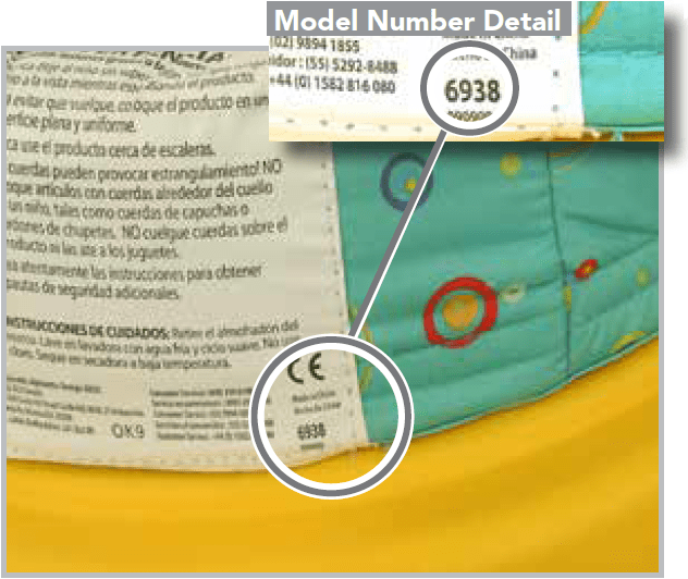Model number detail at the back of Activity Center Bright Starts Doodlebugs Areound We Go